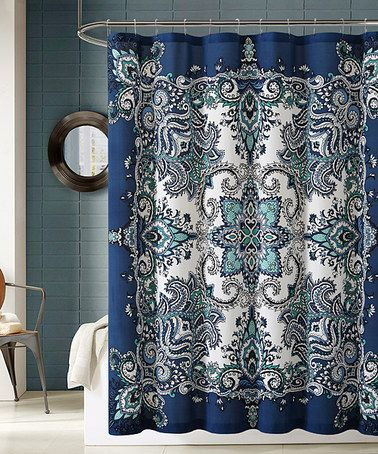 Blue Turquoise Paisley Shower Curtain Hooks Set
