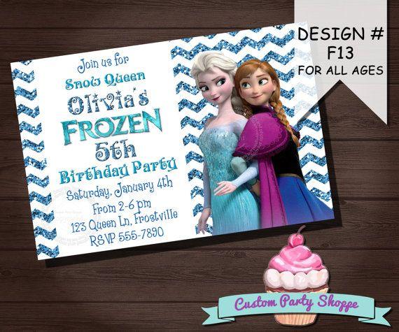 FROZEN PRINTABLE INVITATION, Custom Frozen Invitation For Girls Birthday Party, Frozen Party Decor, Winter Birthday, Custom Party Shoppe on Etsy, $10.00