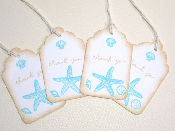 10 Beach Seashore Destination Wedding Favor Tags or Bridal Shower Tags ...