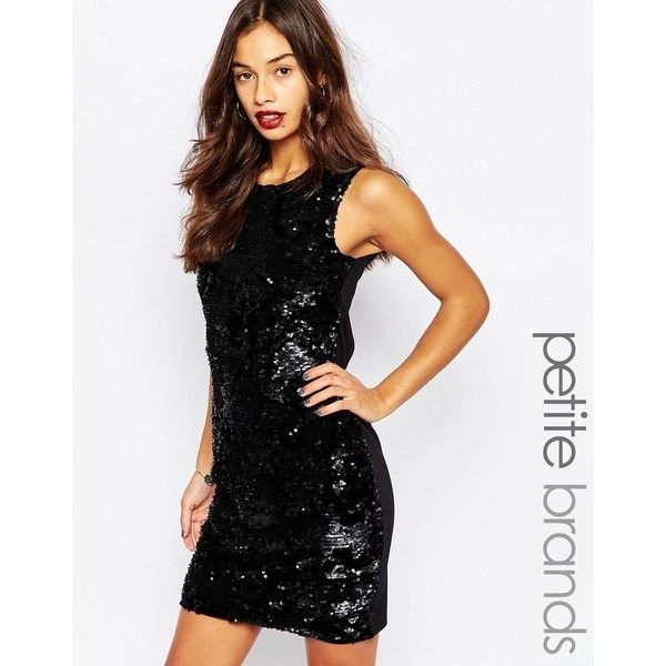 Vero Moda Petite Sequin Bodycon Dress ($40) ❤ liked on Polyvore featuring dresses, black, petite, body conscious dress, bodycon dress, bodycon cocktail dress, sequin bodycon dress and stretchy dresses