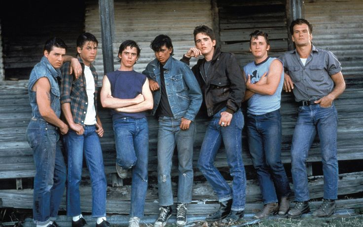 'The Outsiders' (1983) Tom Cruise Rob Lowe Thomas Howell Ralph Macchio Matt Dillon Emilio Estevez Patrick Swayze.