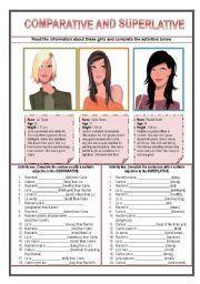 English worksheet: comparative and superlative
