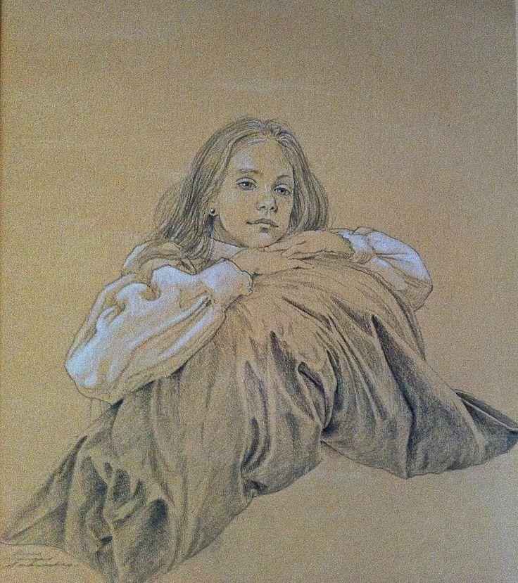 Portrait of Francisca Vicuña Barriga Pencil and white gouache