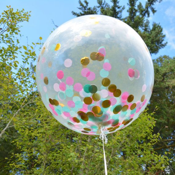 Confetti Balloon Clear Jumbo Balloon Filled by Twigsandtwirlsllc