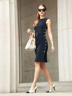 North Carolina's own creation, Doncaster!: Business Woman, Tailored Dresses, Gold Buttons, Navy Dresses, Classic Navy, Classic Dresses, Classic Elegant, Work Chic, Work Dresses
