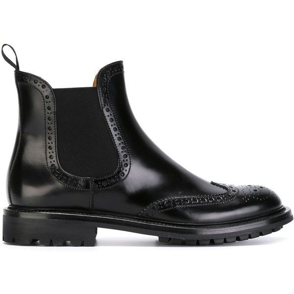 Church's Brogue-Style Chelsea Boots (4.470 ARS) ❤ liked on Polyvore featuring shoes, boots, ankle booties, black, black brogues, black wingtip boots, black booties, chelsea boots and black brogue boots