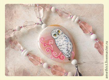 Бело-розовая сова - бледно-розовый,бело-розовый,белый,розовый,агат,роспись акрилом