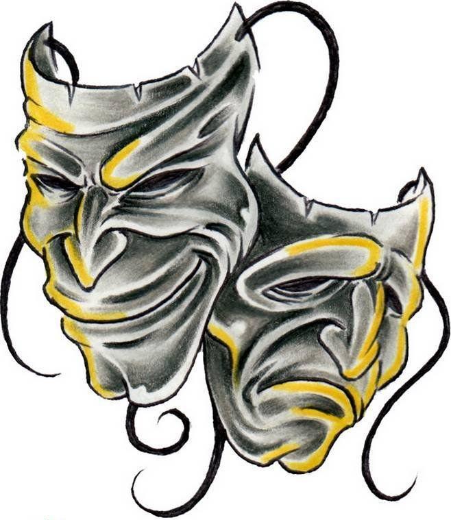 Skull Drama Face Tattoo: Comedy Tragedy Mask - Cerca Con Google
