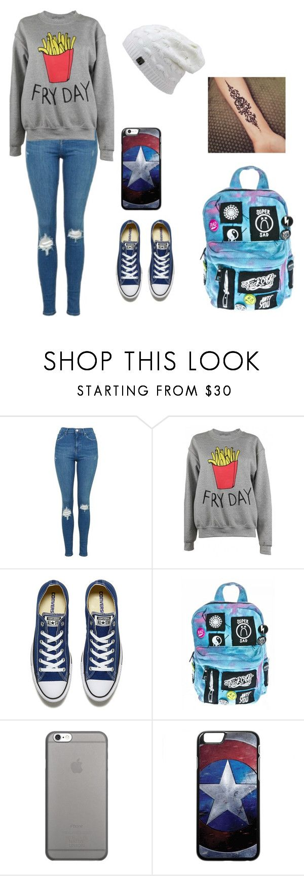 """""""Untitled #98"""" by leecourtney on Polyvore featuring Topshop, Adolescent Clothing, Converse, Current Mood and Native Union"""