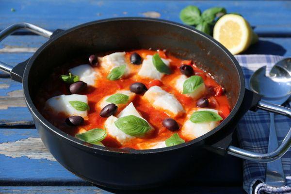 Fiskegryte med torsk og tomat Trines matblogg