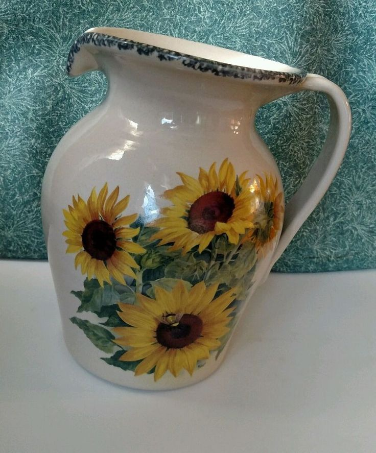 Beau Home U0026 Garden Party Large Pitcher Stoneware Sunflower Pattern Retired 112  Ounces #HomeandGardenParty