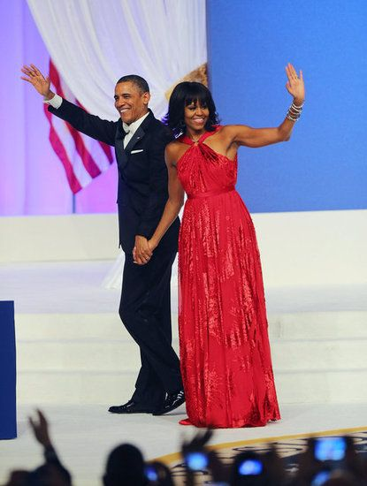 Michelle Obama's First Lady Style: Michelle Obama stunned in a custom ruby chiffon and velvet gown by Jason Wu that reportedly features a custom diamond halter ring by Kimberly McDonald. The FLOTUS finished off her look with Jimmy Choo shoes.