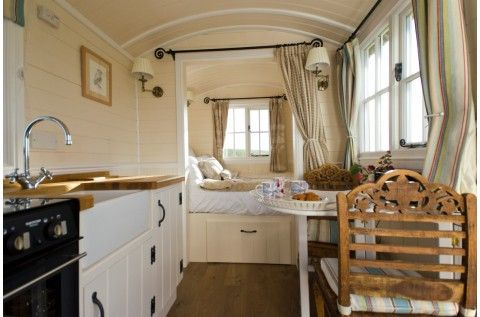 ... The glamping hut's gorgeous interior ...