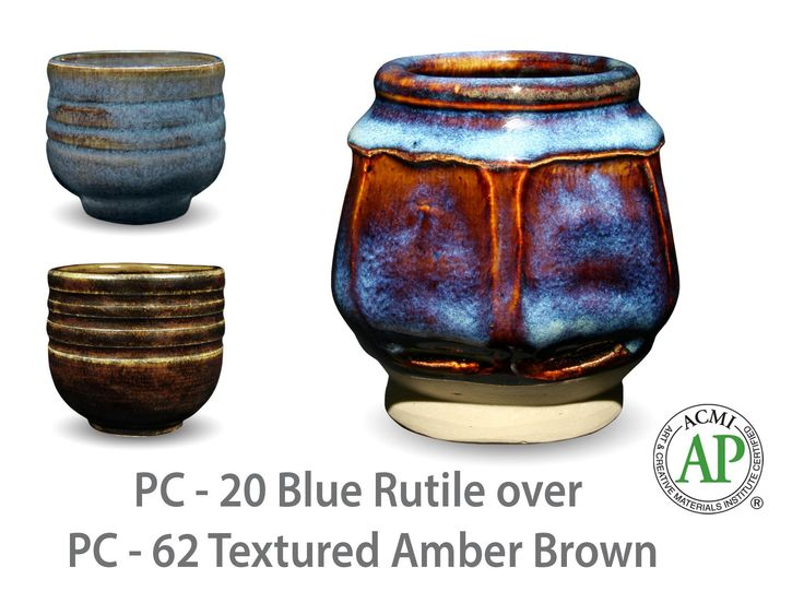 AMACO Potter's Choice layered glazes PC-62 Textured Amber Brown and PC-20 Blue Rutile.