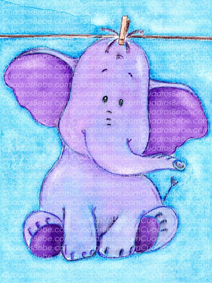Cuadro bebe elefante en tonos morados de peluche sobre - Habitacion bebe ...