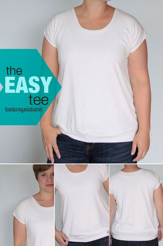 free pattern and tutorial for this simple women's t-shirt! perfect beginner #sewing project with easy to follow step by step photos. #tee