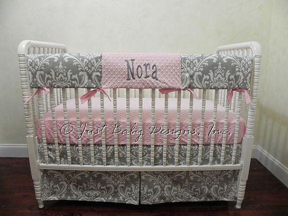 Custom Bumperless Crib Bedding Set Penny  - Girl Baby Bedding, Pink and Gray Baby Bedding, Gray Damask, Rail Cover