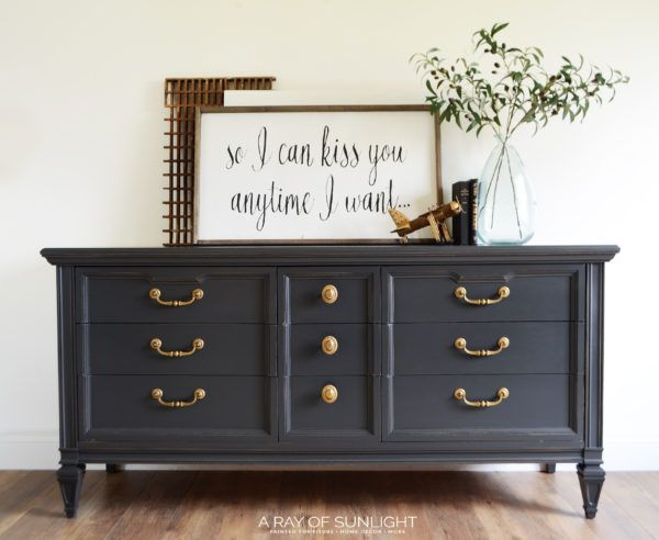 This Dark Grey Mcm Dresser With Gold Hardware Is The Perfect Neutral Grey For Any Room In Y Painted Bedroom Furniture Furniture Makeover Upcycled Furniture Diy