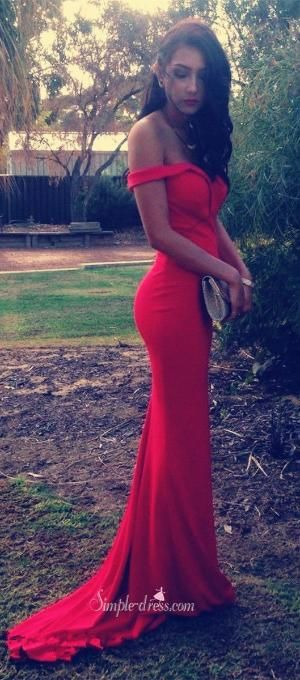 2016 red prom dresses, mermaid prom dresses, off -the-shoulder prom dresses, long prom dresses with train, engagement dress, wedding reception dress, evening dress by Katherinedresses
