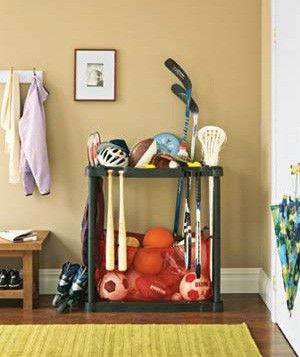Sports Equipment Rack Could Diy This Out Of Existing Plastic Shelving Units For The Garage Or Shed