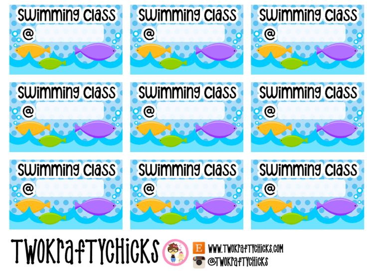 NEW 18 Swimming Class Planner Stickers (2.75 USD) by TwoKraftyChicks
