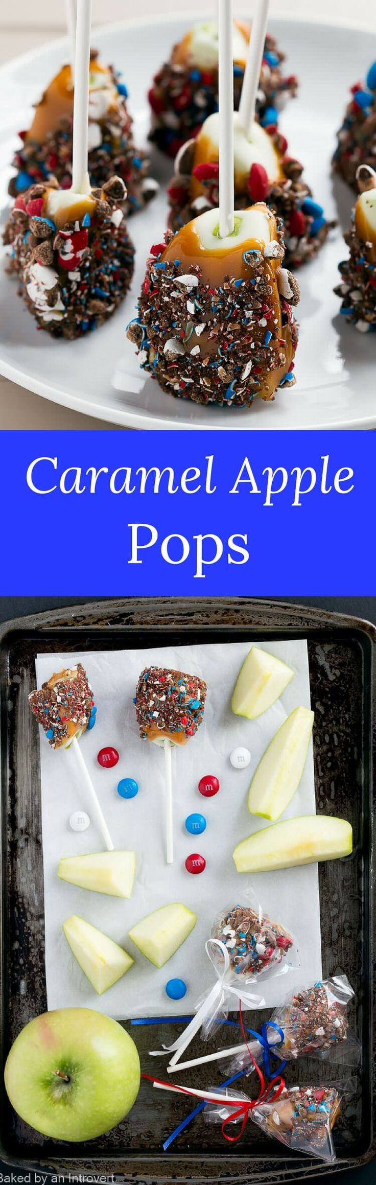 Light up your summer entertaining with these easy patriotic caramel apple pops! It's so much fun to make caramel apples at home. via @introvertbaker