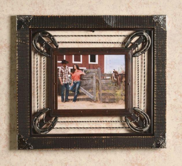 Western Decor Frames: Barbed Wire & Horseshoe Frame