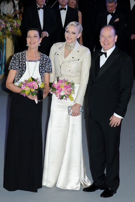 Monaco Rose Ball: Princess Caroline with her brother Prince Albert, and her sister-in-law, Princess Charlene March 2013