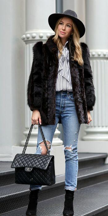Helena Glazer + winter style + gorgeous faux fur coat + pinstripe blouse + distressed jeans + striking + authentic look + fedora hat + Helena's style   Jacket: Vintage, Shirt: Frame, Denim: Levis, Boots: Loeffler Randall, Hat: Rag & Bone, Bag: Chanel Maxi in Caviar.