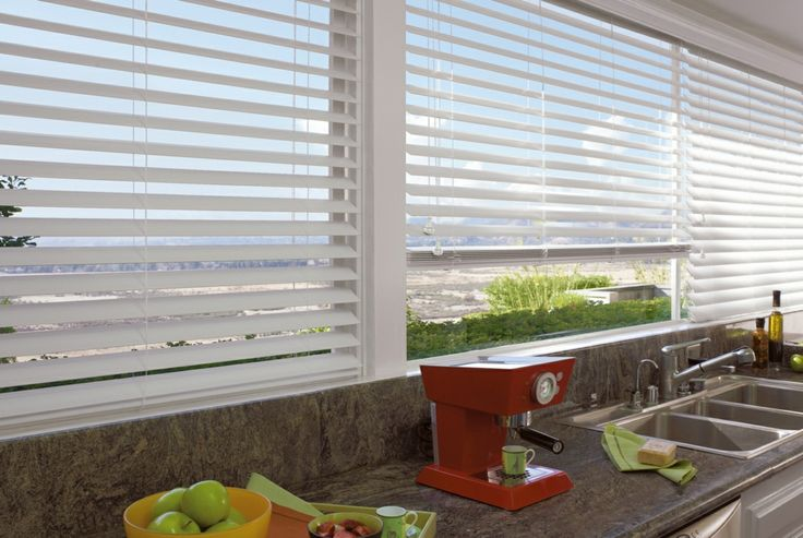 White wooden venetians - look clean and fresh.