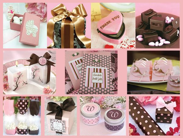 pink and brown baby shower favors