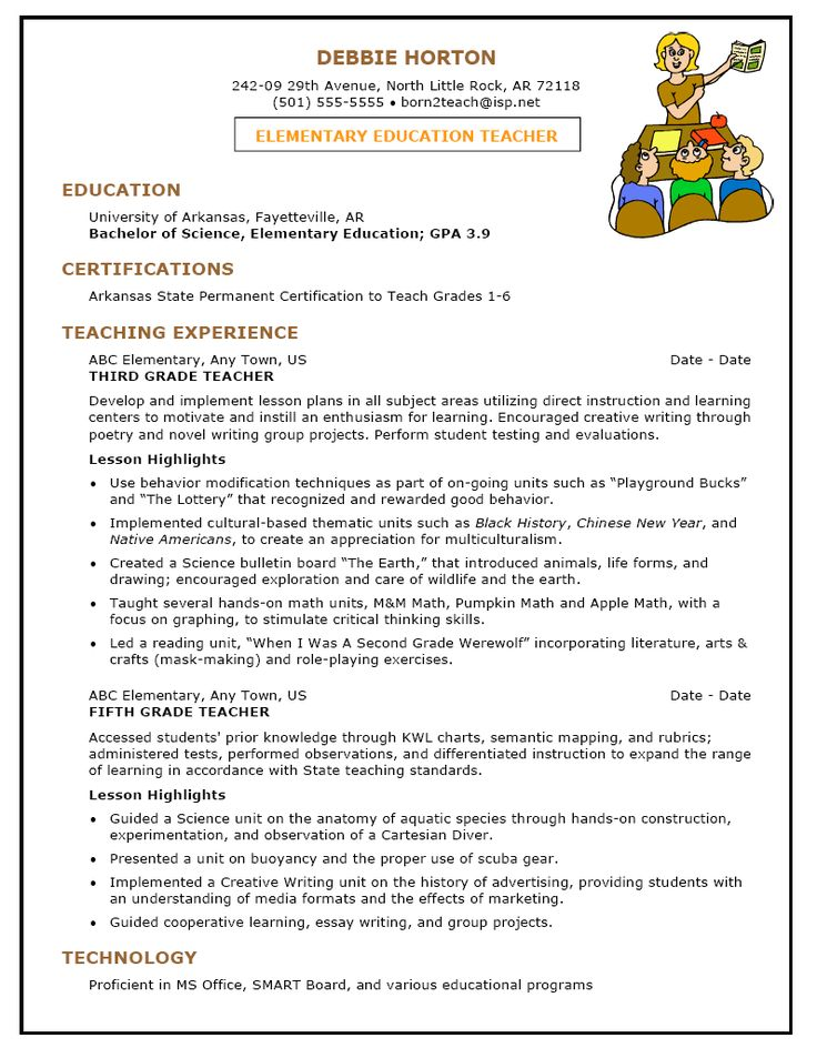 sample resume template for elementary education teacher 1 page bndi7pmd - Us Resume Format