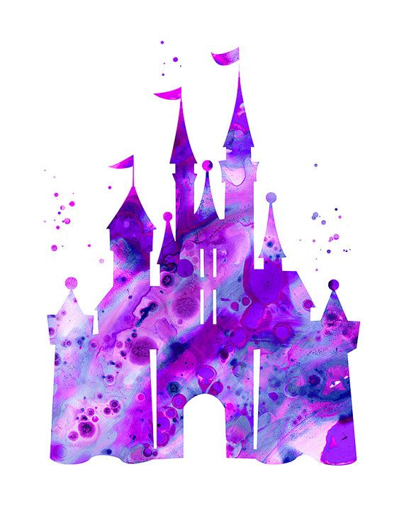 Purple Cinderella castle print Disney castle by FluidDiamondArt