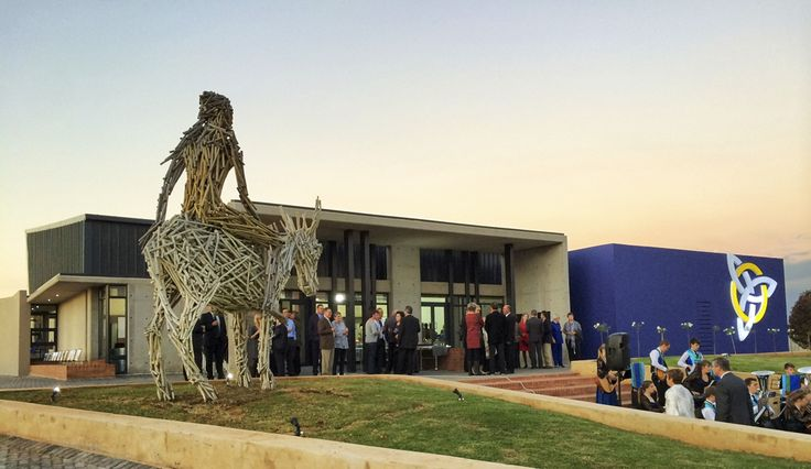 Hoerskool Waterkloof Function Venue and Student Accommodation, Pretoria, South Africa. 'Lady on a Donkey' art instillation by Angus Taylor.  Completed in 2014. Photographed by Pieter Mathews.