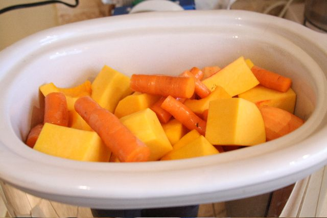 Homemade baby food in the crockpot.