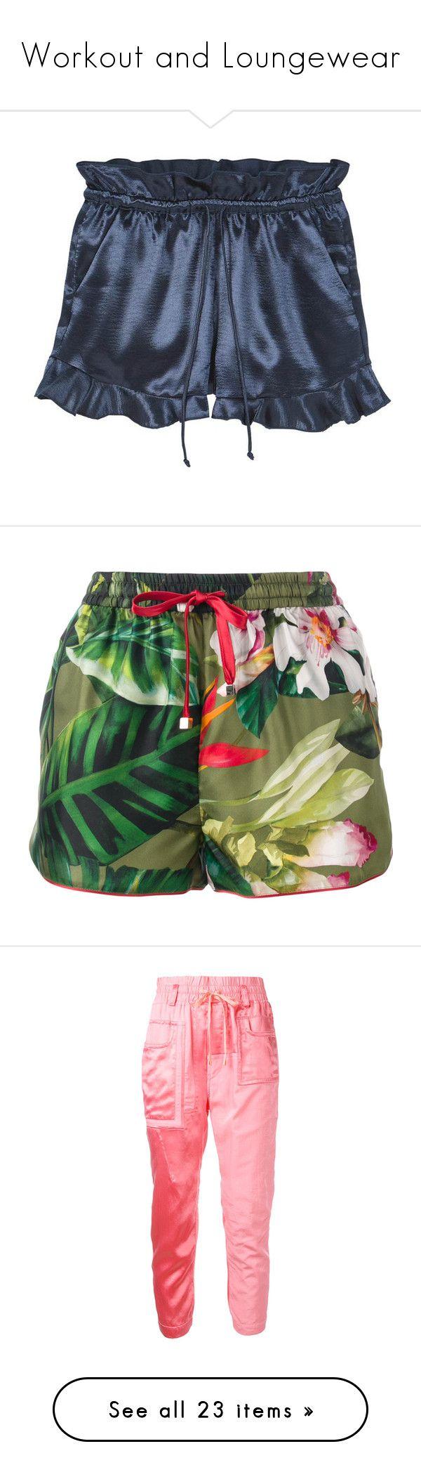 """Workout and Loungewear"" by amyfernandez010 ❤ liked on Polyvore featuring shorts, drawstring shorts, satin shorts, mango shorts, elastic waistband shorts, ruffle shorts, bottoms, green, floral shorts and floral print shorts"