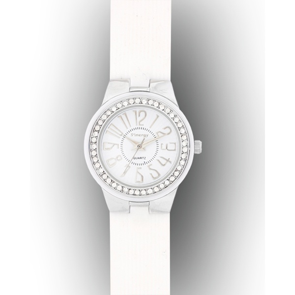Het Spaanse label Sinergy zit bovenop de trends: dit witte horloge met Swarovski steentjes ingelegd is een plaatje