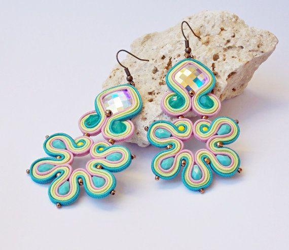 Soutache jewelry earrings.Handmade jewelry by beadsbyPanka on Etsy, Ft12400.00