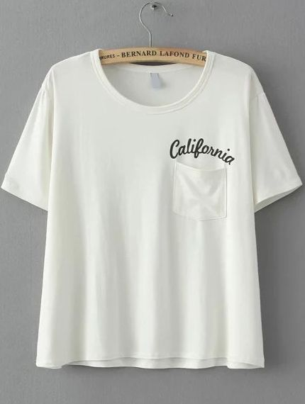 White Short Sleeve Letters Print Pocket T-Shirt 8.90