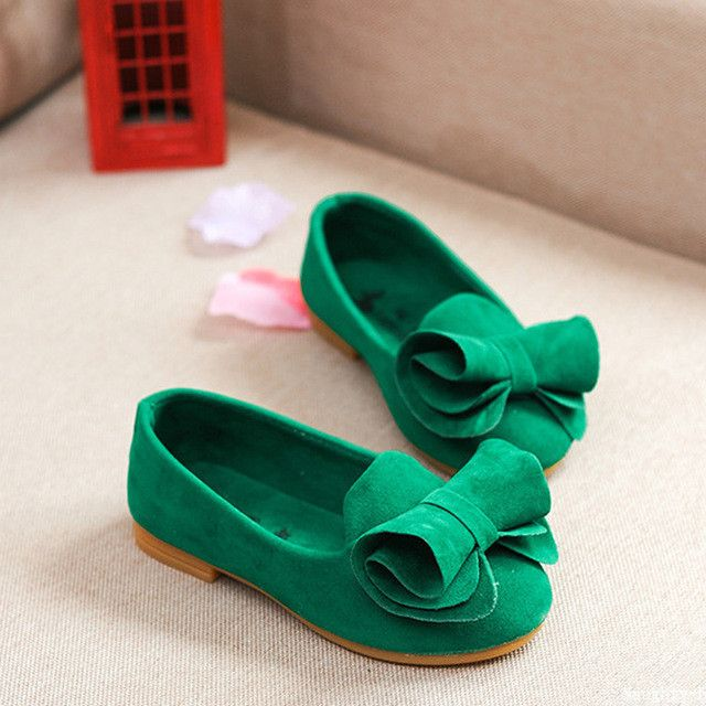 Children Suede Shoes For Princess Girls Sandals Flower Girls Loafers Toddler Girls Party Flat Shoes With Bows Children Footwear