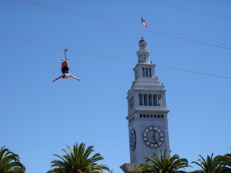 Zipping in San Francisco - w Clock Tower in the background (Justin Herman Plaza, Embarcadero Sq.)