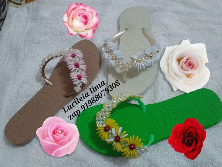 208 best SANDÁLIAS DECORADAS images on Pinterest | Decorated flip ...