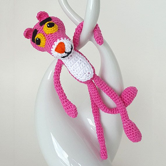 Amigurumi Pink Panther.  Crochet toy.  Perfect gift by LilCuddles