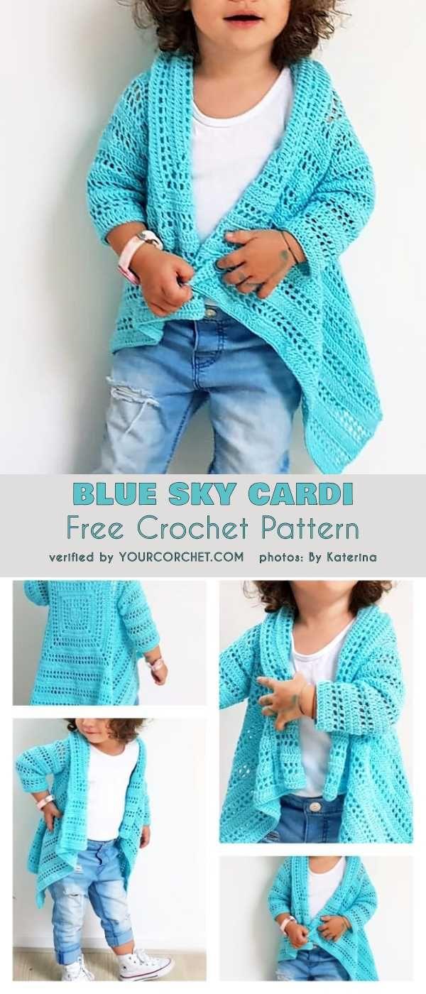 Cardi azul do céu para o teste padrão livre 2T do Crochet das meninas do bebé a 10 anos
