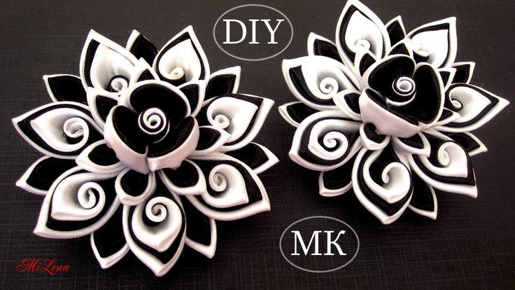Резинки канзаши, МК / DIY Scrunchy with Kanzashi flower / Black & White ...