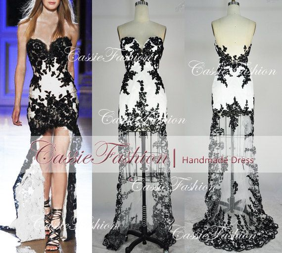 Strapless Hi-low Gown Rich Beaded Lace Applique Black/White  Evening Dresses, Prom Dresses, Wedding Dress Evening Gown,Little Black Dresses