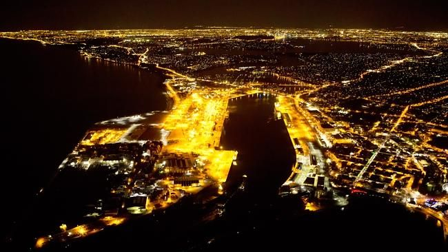 No easy feat: A night-rated pilot and special helicopter were needed to capture these images of Fremantle, and the Perth CBD at night. Pictures: Col Leonhardt/Birdseye View Aerial Photography