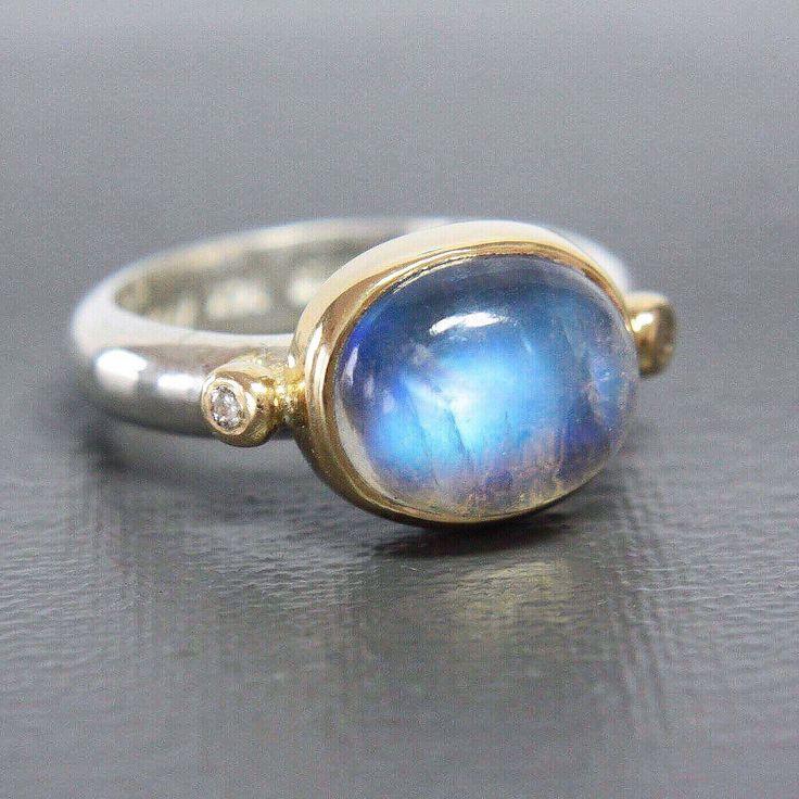 Moonstone & Diamond in Gold & Silver