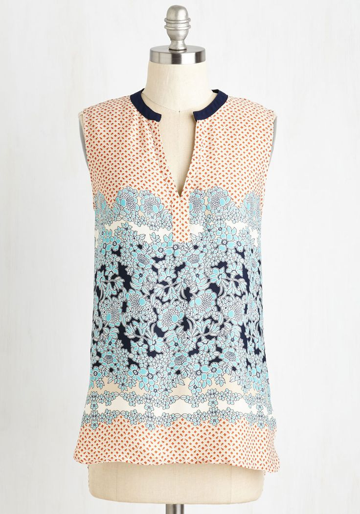 Pastime and Place Top. Spend the afternoon catching up on crocheting in this comfortable, multi-print sleeveless top! #multi #modcloth