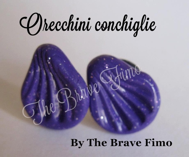 orecchini bottoncino con conchiglie viola glitterato in fimo ...Sono Totalmente realizzati a mano Senza stampi e lucidati con apposita vernice Costo: 5euro